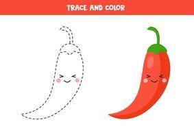 pratica di scrittura a mano per bambini. tracciare il peperoncino rosso e colorarlo. vettore