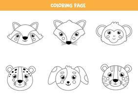 colore facce di animali carini. pagina da colorare per bambini. vettore