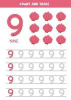 foglio di lavoro per l'apprendimento dei numeri con conchiglie dei cartoni animati. numero nove. vettore