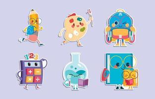simpatici personaggi dei cartoni animati della scuola con adesivi di attività vettore