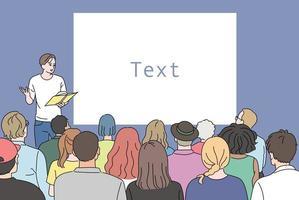 un uomo sta facendo una presentazione dal pulpito e molti stanno ascoltando. illustrazioni di disegno vettoriale stile disegnato a mano.