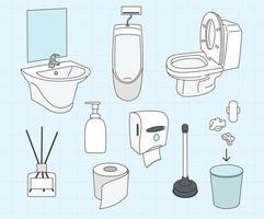 raccolta di oggetti per bagni pubblici. illustrazioni di disegno vettoriale stile disegnato a mano.