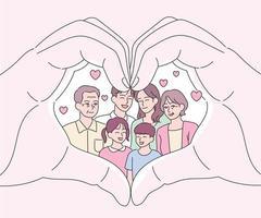 mani che fanno una forma di cuore con la famiglia in esso. illustrazioni di disegno vettoriale stile disegnato a mano.