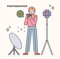 set di caratteri e icone del fotografo. illustrazione di vettore minimo di stile di design piatto.