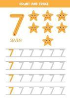 tracciando il numero sette. illustrazioni vettoriali di stelle marine dei cartoni animati.