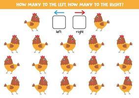a sinistra oa destra con gallina simpatico cartone animato. gioco educativo. vettore