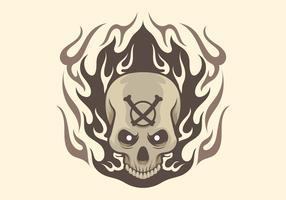 Disegno del tatuaggio teschio fiammeggiante vettore