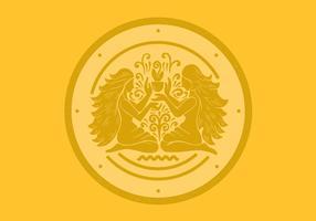 Distintivo dello zodiaco dei gemelli dei gemelli vettore