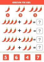 aggiunta per bambini con peperoncino rosso. equazioni matematiche. vettore