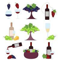 un set di bottiglie di vino e bicchieri combinati con uva e formaggio. set vettoriale isolato su uno sfondo bianco.