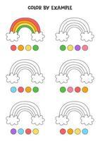 colora graziosi arcobaleni con esempi. foglio di lavoro per bambini. vettore