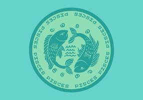 Distintivo dello zodiaco dei Pesci vettore