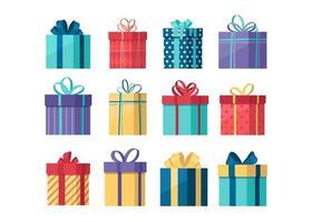 serie di illustrazioni di scatole regalo vettore