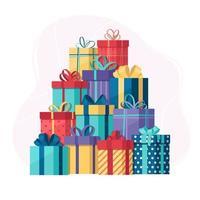 mucchio di scatole regalo vettore
