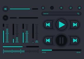 Interfaccia utente di controllo della musica audio vettore