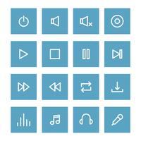 Set di icone di controllo musicale delineate vettore