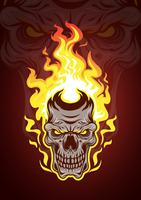Vettore del cranio fiammeggiante