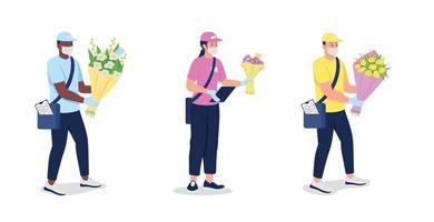 corrieri in maschera e guanti con set di caratteri dettagliati di vettore di colore piatto di fiori