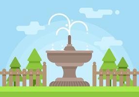 Giardino con illustrazione fontana