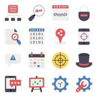 set di icone di marketing digitale e analisi dei dati vettore