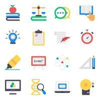 set di icone di elementi di apprendimento e istruzione vettore