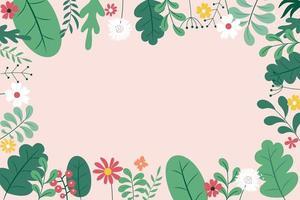 astratto primavera ed estate piatto semplice sfondo naturale con fiori, piante e copia spazio per banner, biglietto di auguri, poster. illustrazione vettoriale eps10