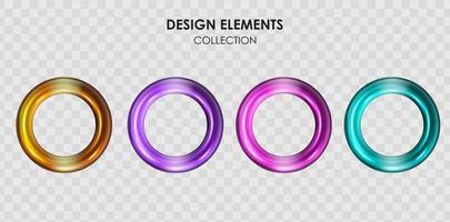 insieme di raccolta di elementi geometrici di oggetti di forme geometriche gradiente di colore metallico rendering 3d realistici per il design vettore