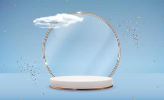 sfondo bianco piedistallo 3d con cornice ad anello in vetro dorato, nuvole realistiche e nastro di coriandoli. display podio vuoto alla moda per la presentazione di prodotti cosmetici, rivista di moda. copia spazio illustrazione vettoriale eps10
