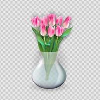 vaso trasparente in vetro 3d realistico con fiore di tulipani. elemento di design per poster, biglietto di auguri. illustrazione vettoriale eps10