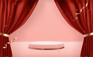 piedistallo in oro rosa su sfondo naturale pastello rosa e tende aperte. display podio vuoto alla moda per la presentazione di prodotti cosmetici, rivista di moda. copia spazio illustrazione vettoriale eps10
