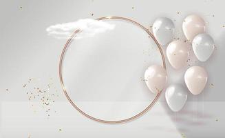 palloncino 3d realistico con sfondo cornice dorata per festa, vacanza, compleanno, carta di promozione, poster. illustrazione vettoriale eps10