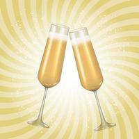 sfondo di vetro dorato champagne 3d realistico. illustrazione vettoriale eps10