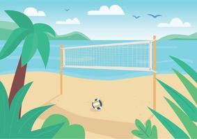 illustrazione di vettore di colore piatto netto beach volley. gioco della palla all'aperto cort. intrattenimento per le vacanze estive. paesaggio del fumetto 2d del litorale con acqua e palme tropicali sullo sfondo