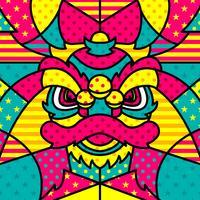 leone testa chinesse moderno pop art vettoriale