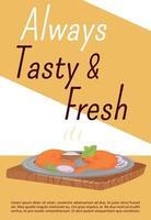modello di vettore piatto poster di pasti gustosi e freschi. brochure di cucina tradizionale indiana, concept design di una pagina con un personaggio dei cartoni animati. piatto asiatico, volantino di pollo tandoori, volantino