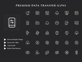 icon pack di trasferimento dati vettore