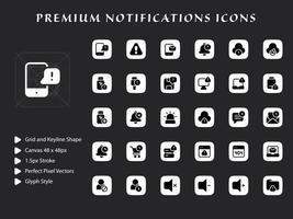 pacchetto di icone di notifiche vettore