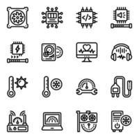 set di icone di server e sistema vettore