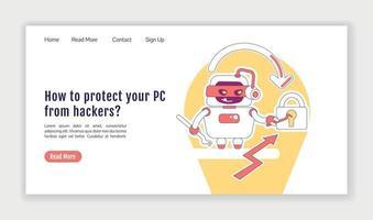 modello di vettore di sagoma piatta della pagina di destinazione del bot cattivo. layout della home page di malware dannoso. proteggere il pc dagli hacker un'interfaccia del sito web di una pagina con il personaggio dei cartoni animati. banner web, pagina web