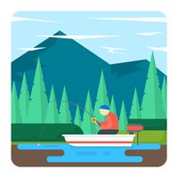 Paesaggio di pesca vettore