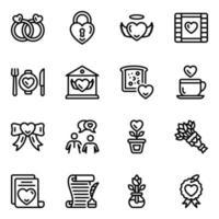 set di icone di amore e romanticismo vettore