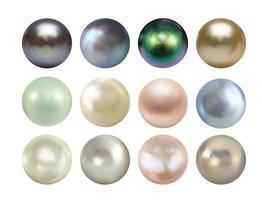 insieme realistico della raccolta della perla 3d isolato su fondo bianco. illustrazione vettoriale eps10
