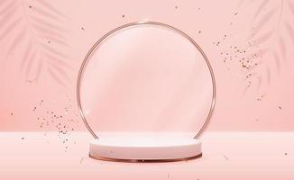 piedistallo realistico in oro rosa 3d con cornice ad anello in vetro dorato su sfondo naturale pastello rosa. display podio vuoto alla moda per la presentazione di prodotti cosmetici, rivista di moda. copia spazio illustrazione vettoriale