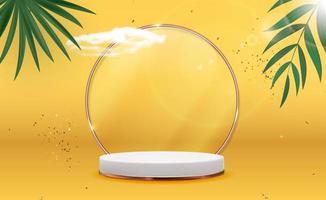 sfondo bianco piedistallo 3d con cornice ad anello in vetro dorato, nuvole realistiche, foglie di palma e coriandoli per la presentazione di prodotti cosmetici, rivista di moda. copia spazio illustrazione vettoriale