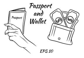 un set di passaporto in mano e un portafoglio con i soldi. vettore