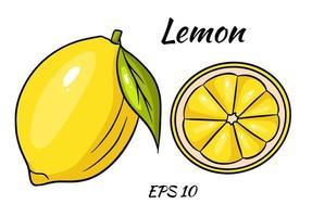 giallo limone brillante. un limone intero e uno spicchio a fette. illustrazione vettoriale su uno sfondo beome.