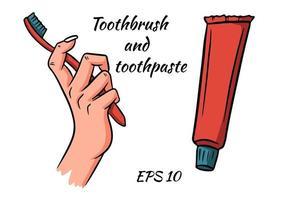 kit per la pulizia dei denti. spazzolino da denti in mano e dentifricio. elementi isolati su uno sfondo bianco. vettore
