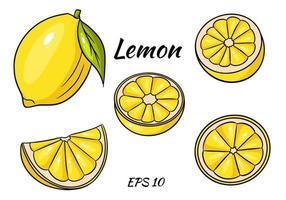 giallo limone brillante. un limone intero e uno spicchio a fette. disegno per il design e la decorazione. vettore