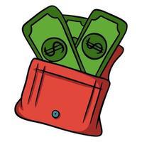 portafoglio con soldi. soldi di carta verde. in uno stile cartone animato. vettore