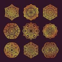 set di mandala geometrici vettore